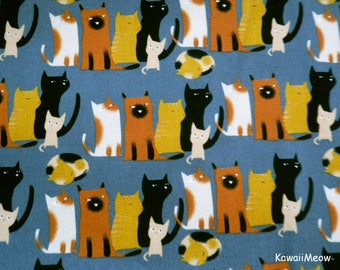 Kawaii Japanese Fabric - Cat's Family on Gray - Fat Quarter (ma170422)