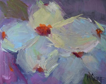 Impressionist Dogwood Painting, Giclee Print on Canvas, Choose you Size, Ready to Hang, Free Shipping, No Frame Required