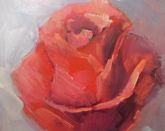 "Rose Panting,   Small Oil Painting, Flower Oil Painting, 6x8"" Original Painting"