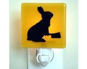 Funny Bunny Night Light - Rabbit Gift - Hand Painted Glass