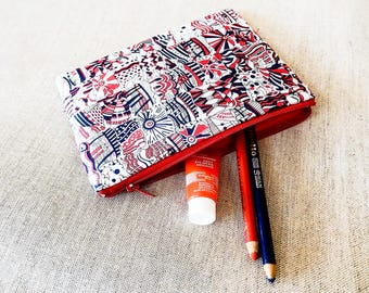 Gift For Mom, Gift for Grad, Gift for Teacher, Coin Purse, Small Pouch, Liberty of London Pouch, Zipper Pouch, Red, White and Blue Pouch