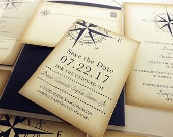 Vintage Compass Wedding Save the Date Card, Navy Blue Postcard, Nautical Pocketfold Wedding Invitations, Beach Wedding Invites, Boat Yacht