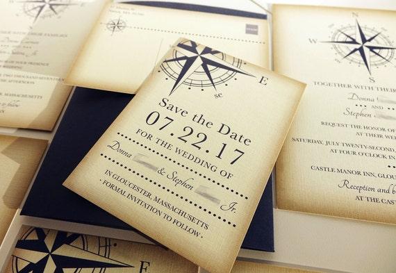 vintage compass wedding save the date card navy blue. Black Bedroom Furniture Sets. Home Design Ideas