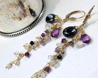 HOLIDAY SALE Black Dangle Earrings Wire Wrap Gold Fill Moonstone Amethyst Chain Dangle Minimalist Jewelry February Birthstone Boho Chic Gems