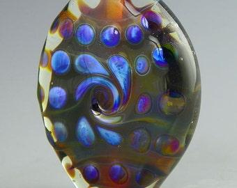 handmade lampwork glass bead an oval tab focal in iridescent silverglass over dark variegated silverglass - Black Hole