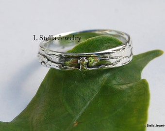 Band Lighthouse Tree Ocean Scape 4.5mm Sterling Slight taper Nature lover Wedding ring