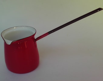Red Enamel Dipper Ladle Butter Warmer Made in Yugoslavia