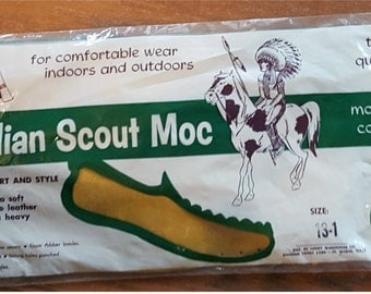 Moccasins hand made kit Indian Scout Moc. project soft genuine leather size 13-1 vintage unopened 1