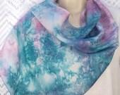 OOAK Silk Scarf, Teal scarf, painted scarf, 11x60, long, magenta, handpainted, marbled, texture, salt, no 3