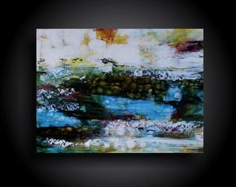 Large Abstract Painting Modern and Contemporary Encaustic Painting 18 x 24 Canvas Wall Art Minimalist Interior Design Outsider Raw Earthy