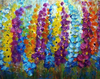 Original Painting Summer Flowers Impasto Oil on Large Canvas Art by Luiza Vizoli