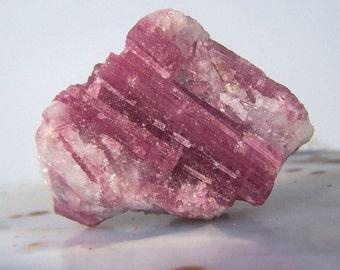 Large Pink Tourmaline on Quartz matrix - raw rough Rubellite stone specimen natural crystal quartz brazil display 1.5 inch coyoterainbow G99