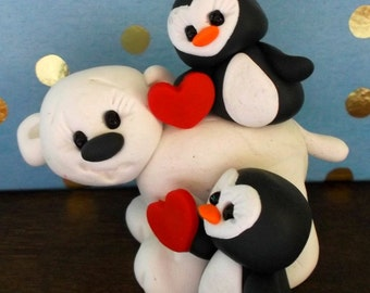 Polar bear and penguin buddies polymer clay figurines