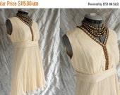 ON SALE 60s Dress // 60s Party Dress // Vintage 1960s Ivory Chiffon Cocktail Mini Dress by Parc Jrs Petite Size M