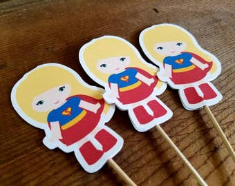 Superhero Girls Party Collection - Set of 12 SuperGirl Cupcake Toppers by The Birthday House