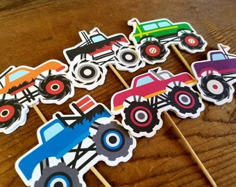 Monster Truck Party - Set of 12 Assorted Double Sided Cupcake Toppers by The Birthday House