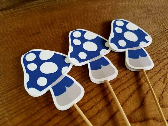 Gnome Garden Party - Set of 12 Blue Mushroom Cupcake Toppers by The Birthday House