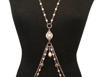 Astraea - Hand-knotted Pearl and Silver Bridal Body Chain