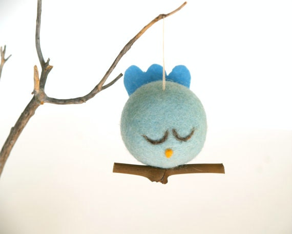felted bird ornament love bird christmas decoration spring. Black Bedroom Furniture Sets. Home Design Ideas