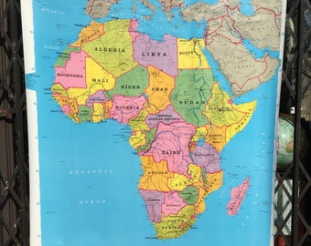 Vintage Rand McNally School Classroom Map of Africa