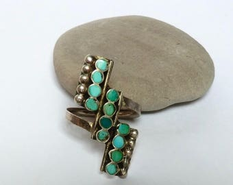 Vintage Silver Turquoise Inlay Ring Three Rows Staircase Design Size 7
