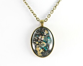 Abstract Art Drip Painting Pendant - Glass in Brass Oval Necklace - Black, Teal, Gold, Gray (Original Painting)