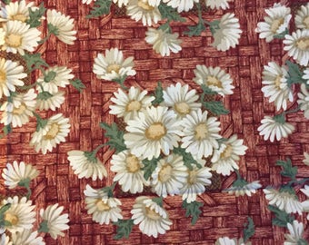 Daisy Days by Thimbleberries by RJR Fabrics, burgundy basket weave and cream flowers fabric, cotton print. quilting, sewing,  Half-yard