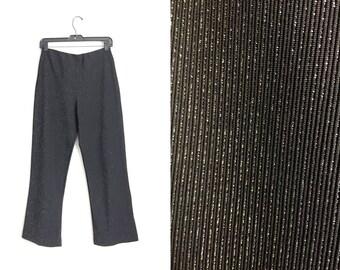 Size M // GLITTERY METALLIC PANTS // Black - Silver Glitter - Disco Pants - Elastic Waist - Vintage '80s.