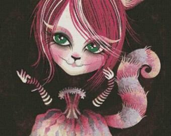 Cross Stitch, Kit, Needlecraft , Needlework, Sandra Vargas, Cheshire Kitty, Alice in Wonderland, Stitching, DMC Thread, Cat, Handmade Stitch
