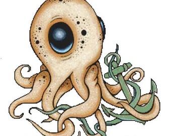Octopus Cross Stitch, Lea Barozzi Art, 'Anchor Me', Counted Cross Stitch, Cute Octopus, Cross Stitch Kit, Modern Stitching Set
