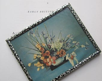 Vintage Floral Design, Photography, Muted Colors, Design, 1940's Floral Design, Unique Small Art, Metal Frame, Floral Designer Gift, Vanity