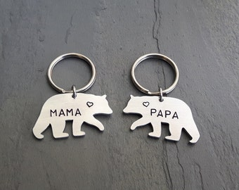 Mama Bear Keychain // Papa Bear Keychain Hand Stamped // Custom // Gift for Her // Gift for Him // Mother's Day // Fathers Day // New Mom