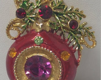 Christmas Ornament Brooch Pin with Colorful Rhinestones Holiday #B445
