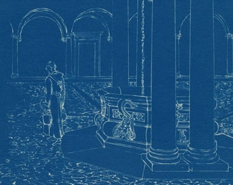 Vintage Architectural Blueprint - Cistern in the Cloister of San Pietro in Vincoli
