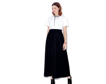 OMG HALF OFF vintage Black Velvet skirt / medium large / high waisted skirt maxi skirt velvet skirt goth gothic minimalist 90s clothing
