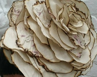 Giant ivory silk wedding rose flower headpiece with pearl embellishments