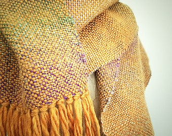 Hand Woven Wool Blend Scarf in Pumpkin and Gradient Autumnal Colors by Wildling Art