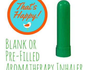 Aromatherapy Inhaler - Plain Green-  Filled with Your Choice of Essential Oil Blend