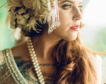 The ALANA Headdress- Custom Made luxe Headband Headdress with Vintage Elements. Fit for a queen.