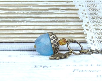 Blue Acorn Necklace Autumn Necklace Glass Acorn Necklace Acorn Pendant Necklace Acorn Gift