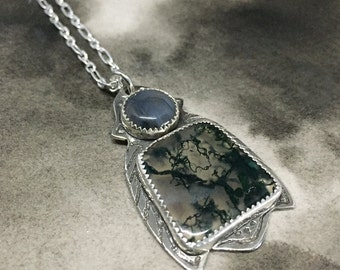 Galanthus snowdrop flower sterling silver etched pendant with open back deep forest green moss agates