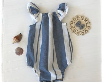 Baby blue and white linen romper, baby nautical style romper, blue and white stripes linen playsuit for baby girls, toddlers