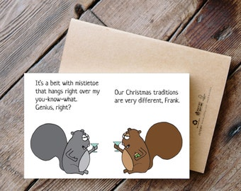 Mistletoe Done All Wrong - Printable Funny Squirrel Christmas Card