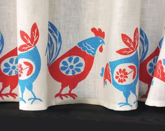 Retro Rooster and Chicken white linen cafe curtains kitchen home decor hand block printed window treatment