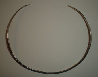 Silver choker torc necklace sterling vintage torque