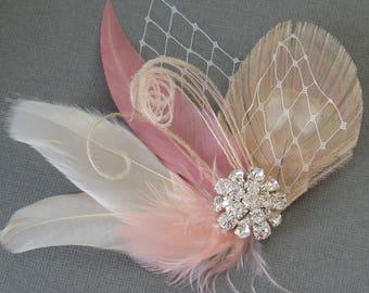 Wedding Hair Accessories Hair Piece hairpiece Ivory Blush Feather Fascinator Bridal Hair Clip brides comb accessory hairpiece bridesmaids