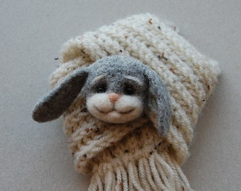 Felted Cute Bunny Brooch, needle felted jewelry,  gray, handmade