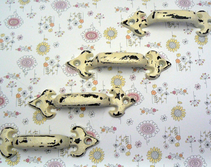 Cabinet Drawer Handle Pull Set of 4 Individual Small Cast Iron Pulls Cream Off White Fleur de lis FDL Shabby Elegance Do It Yourself DIY