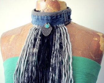 Grey Tribal Choker Long Fringe Necklace Recycle Denim Boho Chic Style Hippie Fashion Women's Tassel Scarf Wearable Art Jewelry 'SCARLETTE'