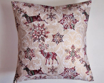 SUMMER SALE - Handmade CHRISTMAS Throw Pillow Cover, Pretty Deer & Snowflakes Christmas Accent Pillow Cover, Elegant Christmas Cushion Cover